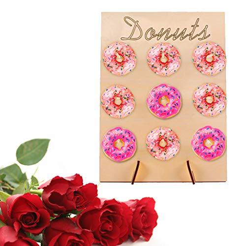 VNEIRW Donut Wall Bunte DIY Cake Alternative Donutwand Aufsteller mit Holz Display Ständer, Perfekt für Party, Hochzeiten, Geburtstag und Candy Bar (A) - Donut-display