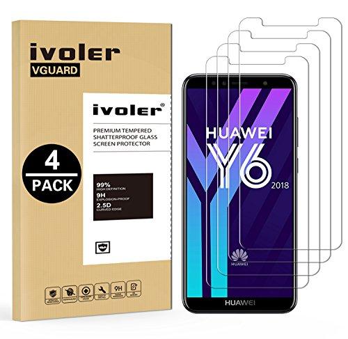 iVoler [4 Stücke] Panzerglas Schutzfolie für Huawei Y6 2018 / Huawei Honor 7A, 9H Härte, Anti- Kratzer, Bläschenfrei, [2.5D R&e Kante]