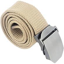 Regolabile Canvas Cintura Belt Waistband con Fibbia in metallo Slider - Aohro All'aperto Sport Cinghia Uomo Donna Unisex in Tessuto Tela - stile 2 - cachi
