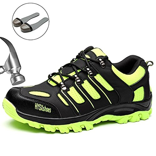 SUADEX Damen Herren Sicherheitsschuhe Sportlich Trekking Wanderhalbschuhe Stahlkappe Arbeitsschuhe Hiking Schuhe Traillaufschuhe, 03-grün, 39 EU