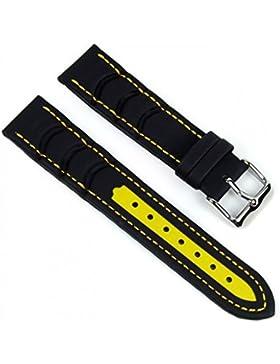 Minott Ersatzband Uhrenarmband Surfer Wasserfestes Band schwarz-gelb 20mm 18074S