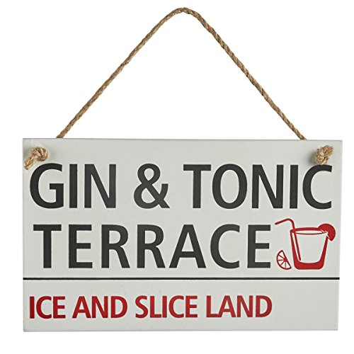 Homes on Trend Retro Hanging Sign Gin de madera/Prosecco Street Style Shabby Vintage Wall Plaque