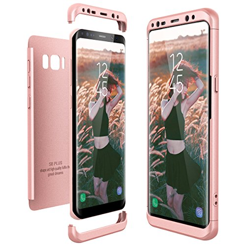 CE-Link für Samsung Galaxy S8 Plus / S8+ Hülle Hardcase 3 in 1 Handyhülle Ultra Dünn Hartschale 360 Grad Full Body Schutz Schutzhülle Bumper - Rosegold - Links Hand Rose