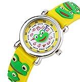 Kinderuhr Vinmori,Kinder Armbanduhr für Jungen Mädchen, 3D Zeit Lehrer Kleinkind Cartoon Armbanduhr, Cartoon Frosch Muster Silikon Band wasserdicht Quarzuhr, Kinder (gelb)