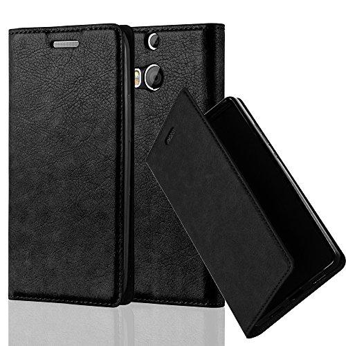 Cadorabo Hülle für HTC ONE M8 (2.Gen.) - Hülle in Nacht SCHWARZ – Handyhülle mit Magnetverschluss, Standfunktion und Kartenfach - Case Cover Schutzhülle Etui Tasche Book Klapp Style