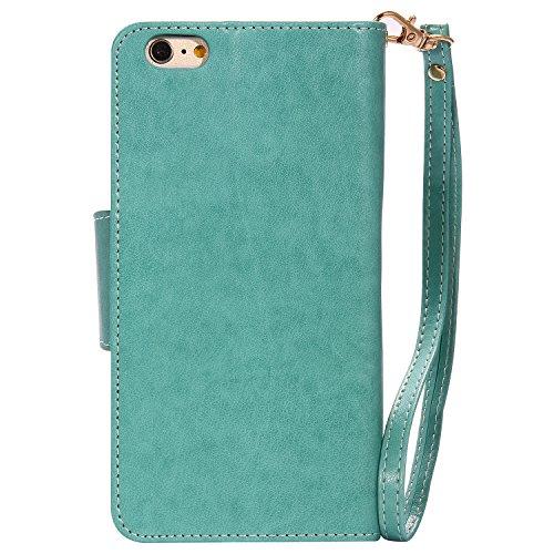 Cozy Hut Schutzhülle Apple iPhone 6 6S Plus Hülle im Bookstyle Blaue Federn mit Magnetverschluss und Standfunktion Kunstleder Wallet Case für iPhone 6 Plus / 6S Plus (5,5 Zoll) - Blaue Federn grün