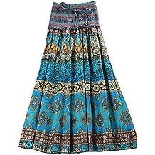 Niyatree - Falda Larga Media Vestido Larga para Mujer Ropa de Verano Playa Falda Maxi Bohemia