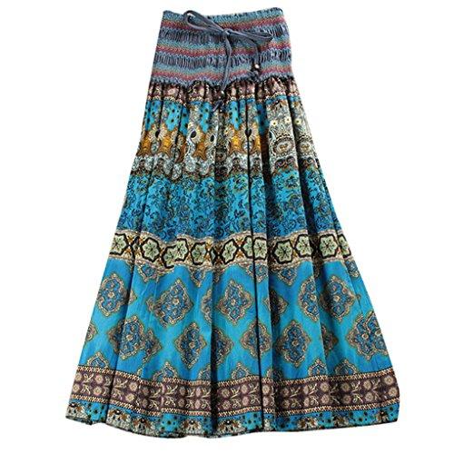 Falda Plisado Larga Bohemia para Mujer Vestido Playa Larga Falda Floral Maxi Summer Long Dress Cinturón Elástico 2 maneras de usar - color 2