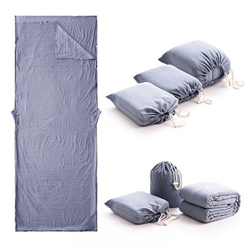 Hüttenschlafsack baumwolle inlett Schlafsack leicht aus 100% gewaschene Baumwolle, mit Knöpfe Elastisches Band und Reißverschlüsse, Inlay, Kann ein Kissen legen Innenschlafsack Blau 80cm*210cm