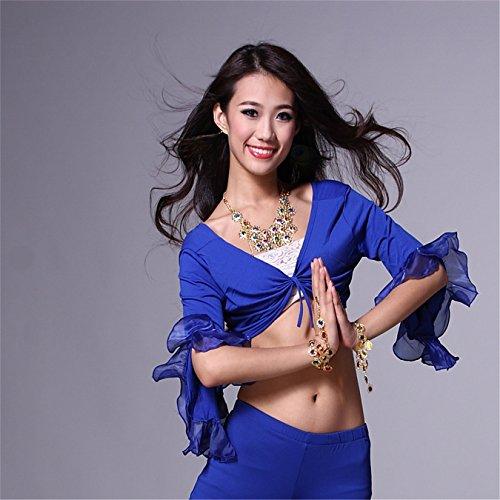 Women Sexy Dance Tops Bauchtanz Costume 3/4 Trumpet Sleeve Bandage Dancewear Bauchtanz Tops Dark Blue