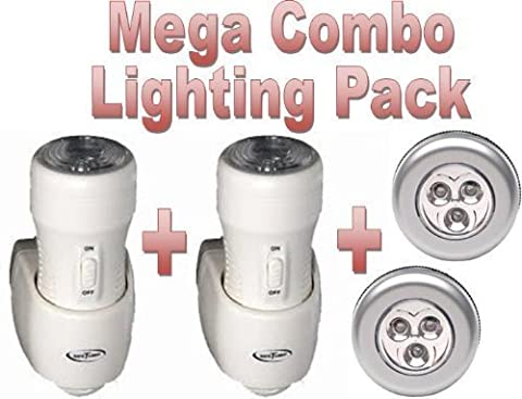 Combo Pack... x2 Safe T Light 3-in-1 Rechargeable Torch, Automatic Night Light & Emergency Power Cut Light - PLUS - X2 Stick n Click LED Bright Lights ... Safe T Light as seen on BBC's