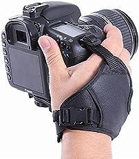 Ozure PU Leather Soft Camera Hand Grip Wrist Strap for Canon Nikon Sony SLRDSLR (Black)