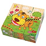 PROW® 6 in 1 Puzzle cubetti in legno jigsaw 9 pezzi Hedgehog Elephant Tiger Deer Scimmia Zebra imparare animal Safe non tossico Toy Blocks blocchi Perfetto regalo di Natale per i bambini