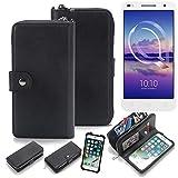 K-S-Trade 2in1 Handyhülle für Alcatel U5 HD Dual SIM Schutzhülle & Portemonnee Schutzhülle Tasche Handytasche Case Etui Geldbörse Wallet Bookstyle Hülle schwarz (1x)