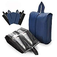 AnpoleLife Travel Shoe Bags 4 Pcs, Waterproof Nylon with Zipper Shoe Organiser Portable Storage Bags for Men and Women - Black & Navy