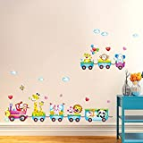ufengke® Cartoon Zug mit Niedlichen Tiere Wandsticker, Kinderzimmer Babyzimmer Entfernbare Wandtattoos Wandbilder