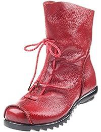 f998a32453af7a MatchLife Damen Stiefel Wasserdicht Weiches Leder Stiefel Gefüttert  Damenstiefel Vintage Schuhe