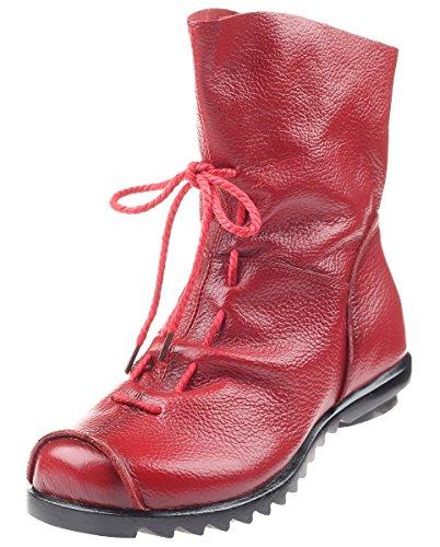 MatchLife Damen Stiefel Wasserdicht Weiches Leder Stiefel Gefüttert Damenstiefel Vintage Schuhe Fleece Red EU40/Asian41