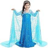 YOGLY Mädchen Prinzessin Kostüm Eiskönigin Kleid für Mädchen Karneval Verkleidung Party Cosplay Faschingskostüm Festkleid Weinachten Halloween Fest Kleid