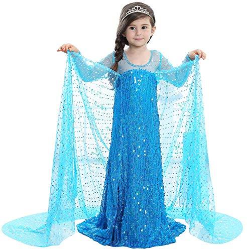 faschingskostuem eiskoenigin elsa YOGLY Mädchen Prinzessin Kostüm Eiskönigin Kleid für Mädchen Karneval Verkleidung Party Cosplay Faschingskostüm Festkleid Weinachten Halloween Fest Kleid