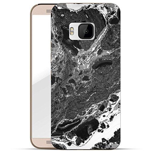 Finoo HTC One M9 Hard Case Handy-Hülle mit Motiv | dünne stoßfeste Schutz-Cover Tasche in Premium Qualität | Premium Case für Dein Smartphone| Schwarze Textur