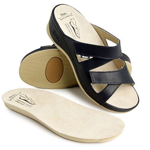 Batz EVELIN di Alta Qualità Sandali Zoccoli Pelle Donna Blu