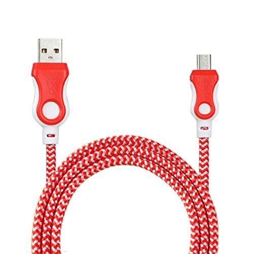 Cargador movil Android , Amlaiworld Cable de cargador universal Micro USB Cable de carga para teléfono Android (rojo)