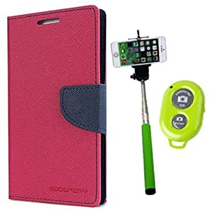 Aart Fancy Diary Card Wallet Flip Case Back Cover For Samsung G350 - (Pink) + Remote Aux Wired Fashionable Selfie Stick Compatible for all Mobiles Phones By Aart Store