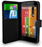 Motorola Moto G - Leather Wallet Flip Case Cover Pouch + Free Screen Protector & Mini Touch Stylus Pen + Polishing Cloth (Black)
