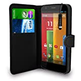 Motorola Moto G - Leather Wallet Flip Case Cover Pouch + Free Screen Protector & Mini Touch Stylus Pen + Polishing Cloth (Black)