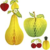 Amakando Wabendeko Frucht wabenförmiges Deko-Obst Apfel-Birne Dekofrucht Waben 3D Papierfrucht Partydekoration Cocktail Sommerdeko