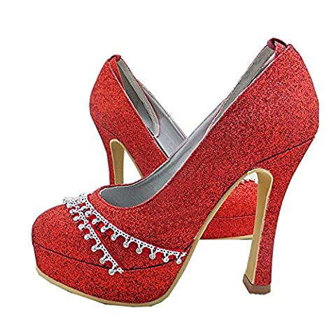Minitoo GYMZ642 Womens Round Toe High Heel Red Satin Ankle-strap Glitter Bridal Wedding Shoes UK 9