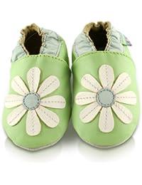 Snuggle Feet - Chaussons Bébé en Cuir Doux - Verte avec Pâquerette Cousue