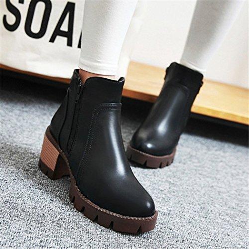 ZQ@QX In autunno e in inverno, spesso con testa rotonda di acqua-stile di chiusura lampo laterale studenti, bare Stivali Stivali corto black