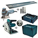 Makita meu029j sega ad affondamento SP6000J + Seghetto alternativo 4351 fctj + Guida + Makpac