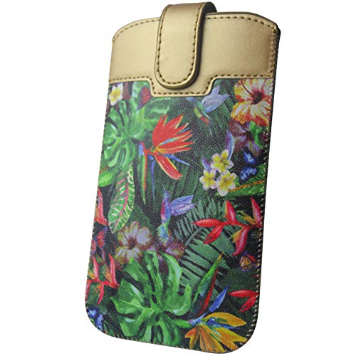 Handyschale24 Slim Case für Oukitel U2 Handytasche Dschungel Blumen Design Schutzhülle Tasche Cover Etui mit Magnetverschluss