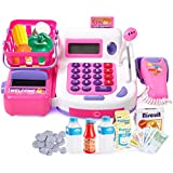 KX Multifunctional Electronic Cash Register Toy Set For Children 38 Realistic Pieces Pretend Play Set With Sound And Action (Pink)