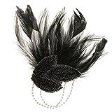 Sharplace Vintage Haarspangen Feder Haarklammer Haarclip Schwarz