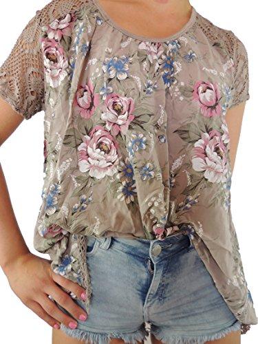 11 verschiedene Farben Damen Blusen Shirt mit Blumenmuster Gr. 46 48 50 52 54 Braun-ton