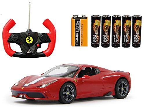 BUSDUGA - RC Ferrari 458 Speciale ferngesteuert - wählbar.: Farbe , Maßstab und Funktion - RTR Ready-to-Run - (Rot 1:14 Verdeck elektrisch)