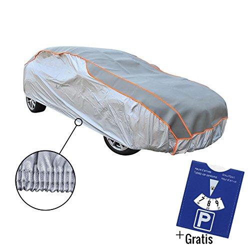 Hagelschutzgarage XL für Oberklasse und Kombi Limousinen Winter geeignet 482x177x119cm - Silber mit Gummizug + Gratis Parkscheibe
