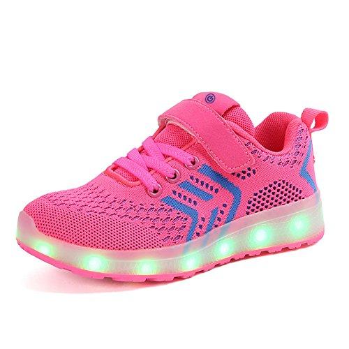 Moquite LED Schuhe Kinder Multicolor USB Auflade Leuchtend Sportschuhe LED Sneaker Turnschuhe Gymnastik Sneaker für Mädchen Jungen