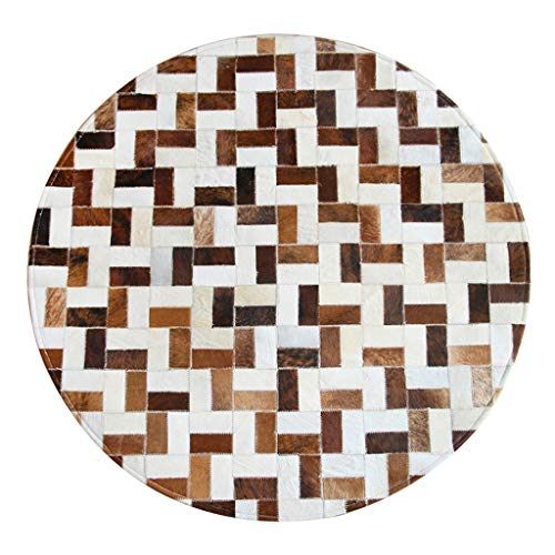 Rugs Carpet Round Leather Carpet Handmade Leather Mosaic Carpet Square Geometry Living Room Sofa Coffee Table Bedroom Bedside Blanket (Color : Brown, Size : 100 * 100cm)
