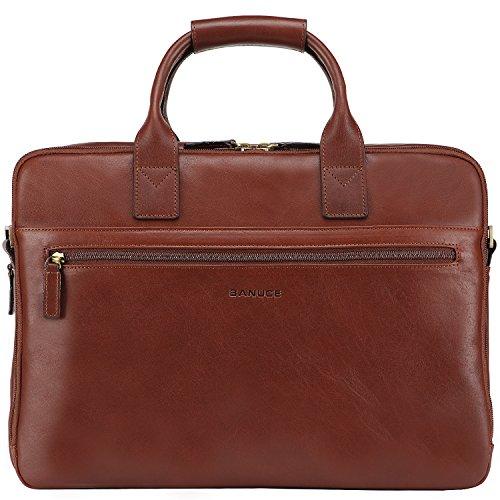 """Banuce Aktenkoffer Damen Herren Businesstasche Italinisches Leder Vintage Rindleder Laptoptasche 15.6"""" Aktentasche Schulterbeutel Braun"""