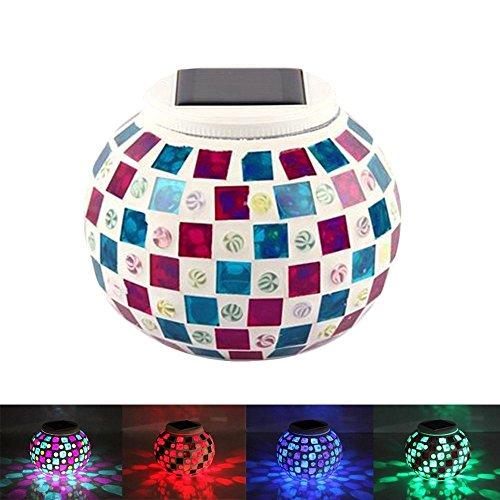 yeaom-solar Glas Ball Tisch Licht Farbwechsel Solar Powered Mosaik Glas Tisch Lampen, wasserdicht Dekorative LED Nachtlicht für Weihnachten Home Schlafzimmer Yard Terrasse, ideal Geschenke Rot/Blau - Rot-glas-tisch-lampe