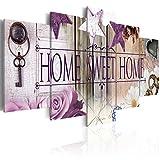 decomonkey Bilder Home Haus 200x100 cm XXL 5 Teilig Leinwandbilder Bild auf Leinwand Vlies Wandbild Kunstdruck Wanddeko Wand Wohnzimmer Wanddekoration Deko Blumen violett