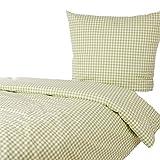 Hans-Textil-Shop Bettwäsche 135x200 80x80 cm Karo 1x1 cm Hellgrün Baumwolle