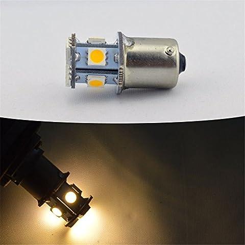 Ruiandsion Car LED Lumière 1156Blanc chaud Auto lampe de parking Arrêt Queue ampoules 50508SMD DC6–24V 160LM 1,5W 4300K 2Pcs