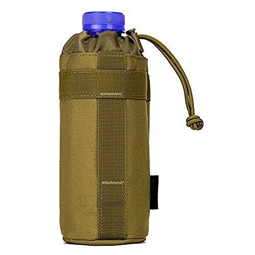 Borsa Porta Bottiglia D'acqua Tattico Militare Borsa Porta Borraccia Per Outdoor Sports Escursionismo Ciclismo, Nero Marrone