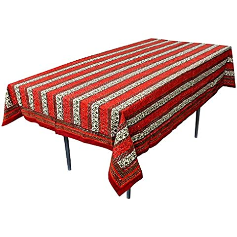 RoyaltyRoute rosso floreale rettangolare tovaglie in cotone tessuto indiano Table